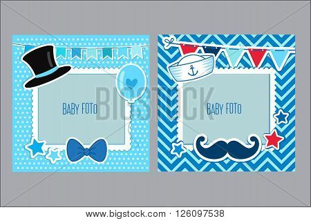 Photo Frames For Kids. Decorative Template For Baby Boy. Scrapbook Vector Illustration. Baby Boy Photo Framework. Photo Frames Collage For Boy. Postcard Frame Child Album.
