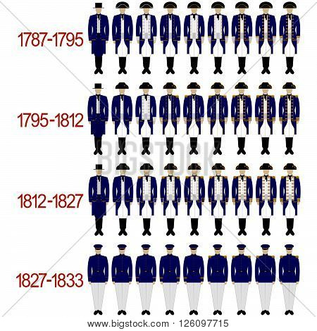 Insignia sailors and officers of the Royal Navy from 1787 to 1833 .. The illustration on a white background.