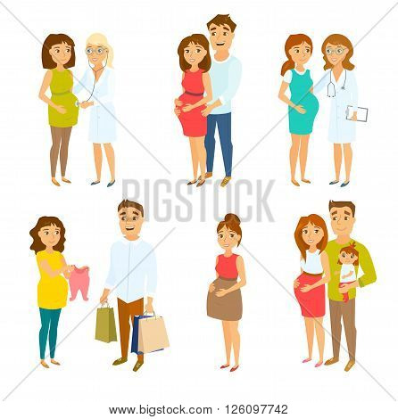 Pregnant couple set. Pregnant woman, her husband, doctor, child and man. Pregnancy health care. Happy couples and families expecting baby. Couple shopping. Family vector. Pregnant mom and gynecologist
