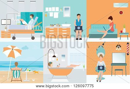 Freelance set with Various cartoon character design working at home Part time Outsources Job Employment self employed home office freedom in living room bathroom toilet conceptual vector illustration.