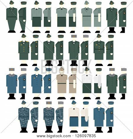 Uniforms and insignia Interior Ministry troops. The illustration on a white background.