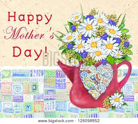 Cute teapot with abstract multicolored heart on a vintage background. Time for tea or coffee. Bouquet of daisies and cornflowers. Happy Mothers day. Congratulations card.