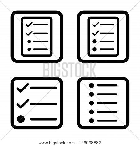 List Items vector icon. Image style is a flat icon symbol inside a square rounded frame, black color, white background.