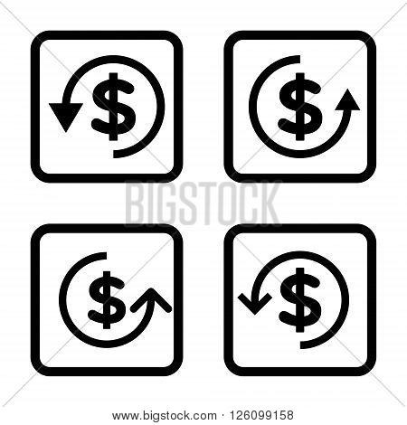 Refund vector icon. Image style is a flat icon symbol inside a square rounded frame, black color, white background.