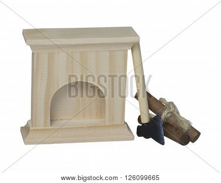 Fireplace with logs and A hatchet with a sharp edge used to cut wood - path included