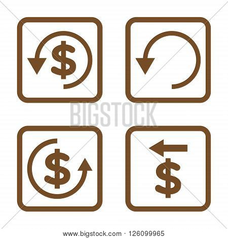 Chargeback vector icon. Image style is a flat icon symbol inside a square rounded frame, brown color, white background.