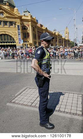 MELBOURNE, AUSTRALIA - JANUARY 25, 2016: Victoria Police Constable providing security during Australia Day Parade in Melbourne