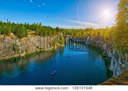 Gorgeous Ruskeala Marble Canyon with turquoise waters at Sunset