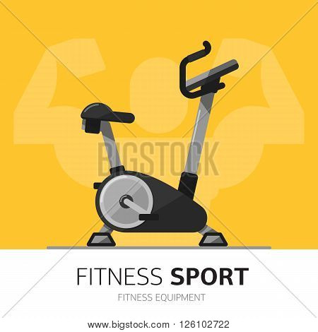 Exercise Bike vector icon. Gym equipment concept. Fitness life. Sport lifestyle. Flat desgin.