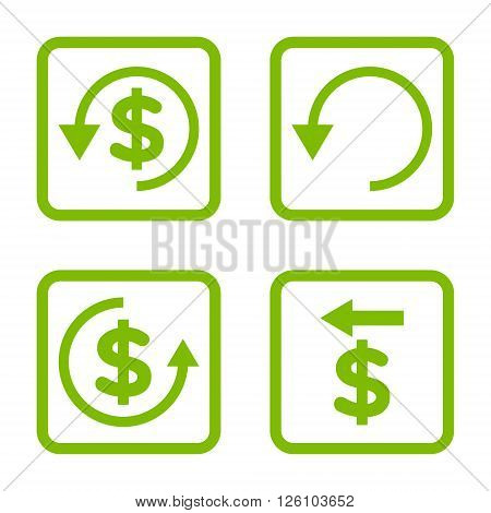 Chargeback vector icon. Image style is a flat icon symbol inside a square rounded frame, eco green color, white background.