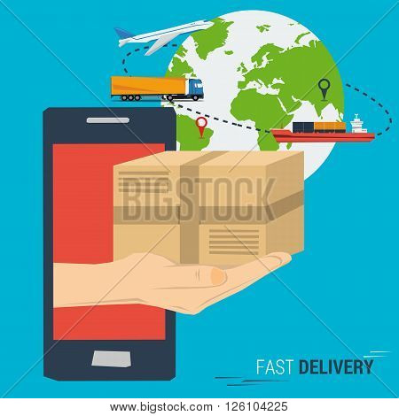 Vector concept fast delivery service. Cargo transportation anywhere in the world delivery. Quick and easy ordering and delivery. Hand from smartphone with postbox. Planet with transport. Flat style