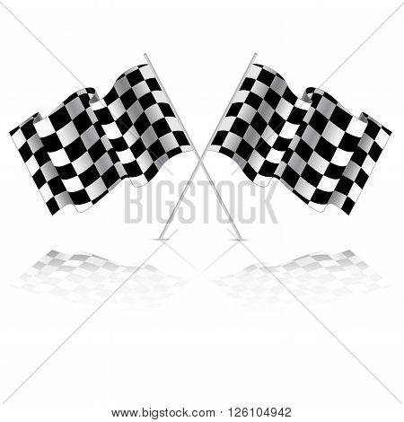 Checkered flag for car racing. Isolated on white background. Two Finish flag with shadow. Race flag. finish illustration. Waving Checkered flag