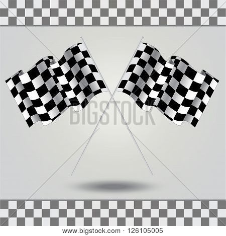 Checkered flag for racing. Vector. Two Finish flag with shadow. Race flag. finish illustration. Waving Checkered flag. Checkered board