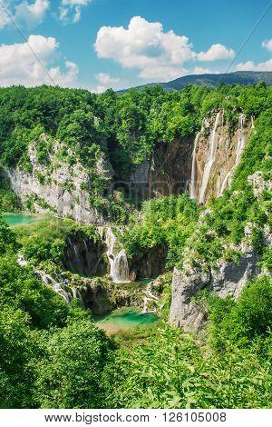 Beautiful view at Plitvice lakes National park, Croatia, Europe.