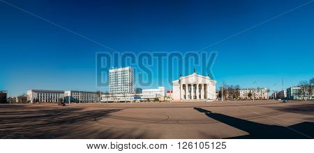 Panorama of Lenin Square with Building Of Gomel Regional Drama Theatre On The Lenin Square in Gomel, Belarus.