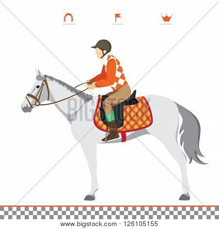 Derby. Equestrian sport. Illustration of horse. Vector. Thoroughbred horse. The Sport of Kings. Horse with Horseman