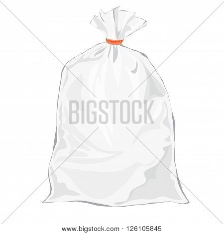 Transparent bag for package design. Vector. Plastic packaging. Blank white bag with place for your design. Sketch style