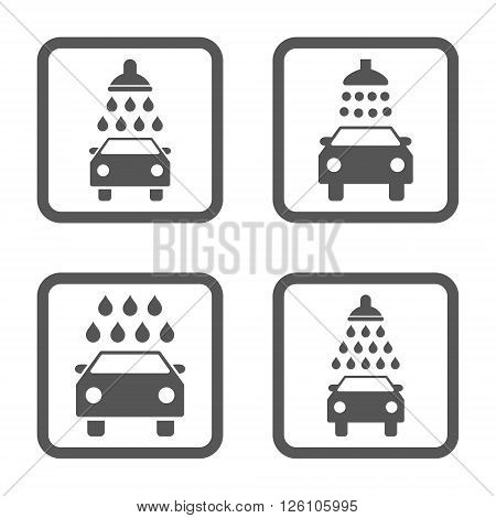 Carwash vector icon. Image style is a flat icon symbol inside a square rounded frame, gray color, white background.