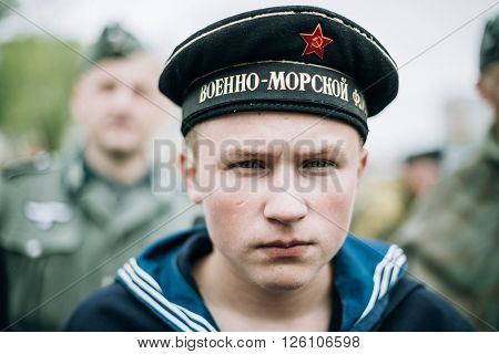 Mogilev, Belarus - May 08, 2015: Unidentified re-enactor dressed as Soviet sailor during events dedicated to 70th anniversary of the Victory of the Soviet people in the Great Patriotic War.
