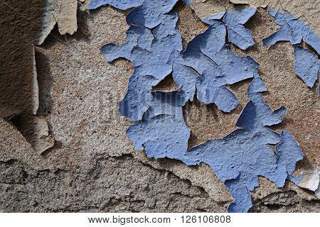 exfoliated blue facade paint on a wall