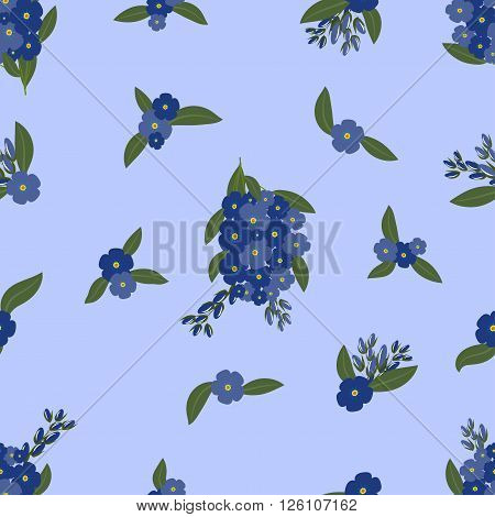 Seamless pattern, bouquets of forget-me-not with leaves on a light-purple background, vector illustration