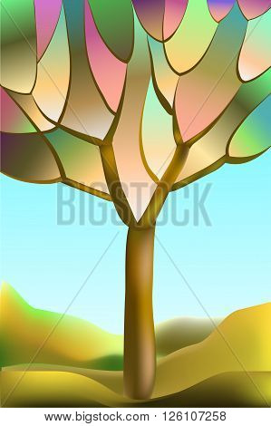 Stained-glass window, abstract autumn tree against the sky and hills, vector illustration