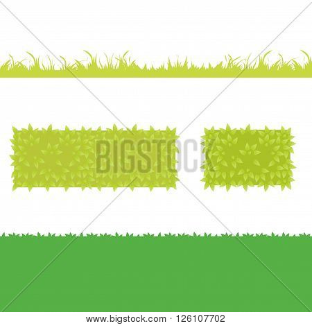 Different Green Grass with bushes. Isolated On White Background. Vector Illustration. Concept design elements for garden