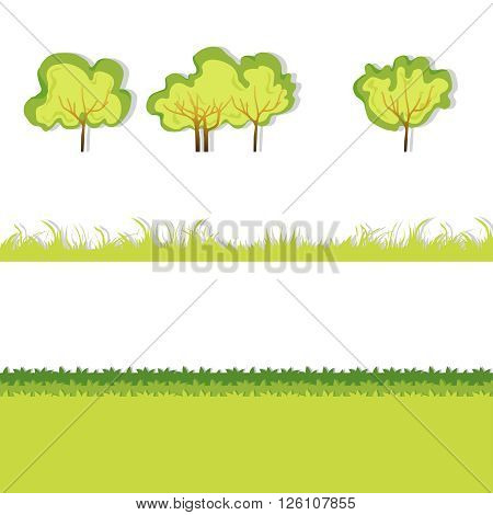 Green Grass with bushes. Isolated On White Background. Grass different shape. Vector Illustration. Concept design elements for garden. Spring Garden with shadow. Eps 8
