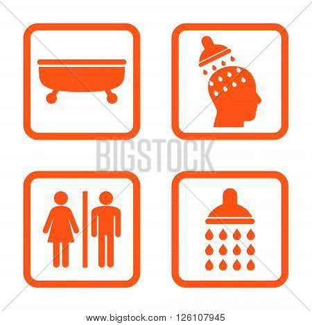 Sanitary vector icon. Image style is a flat icon symbol inside a square rounded frame, orange color, white background.