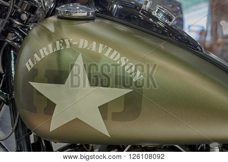 BRNO ,CZECH REPUBLIC-MARCH 4,2016: Close up army style fuel tank of motorcycle Harley Davidson Softail Slim S on International Fair for Motorcycles on March 4,2016 in Brno in Czech Republic