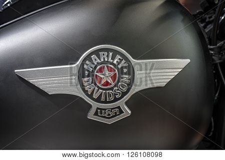 BRNO, CZECH REPUBLIC-MARCH 4,2016: Close up fuel tank of motorcycle Harley Davidson Softail Fat Boy Special on International Fair for Motorcycles on March 4,2016 in Brno in Czech Republic