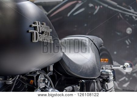 BRNO CZECH REPUBLIC-MARCH 4,2016: Close up of inscription on fuel tank of motorcycle Harley Davidson Street Bob Special on International Fair for Motorcycles on March 4,2016 in Brno in Czech Republic