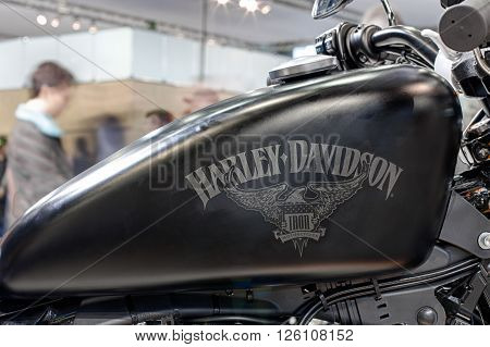 BRNO ,CZECH REPUBLIC-MARCH 4,2016: Close up fuel tank of motorcycle Harley Davidson Sportster Iron 883 on International Fair for Motorcycles on March 4,2016 in Brno in Czech Republic