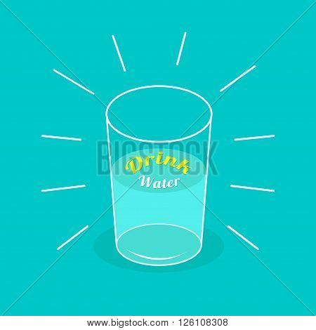 Big shining glass of water. Drink water Infographic. Flat design. Vector illustration.