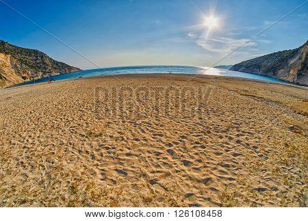 Empty Sunset Myrtos Beach in Kefalonia, Greece