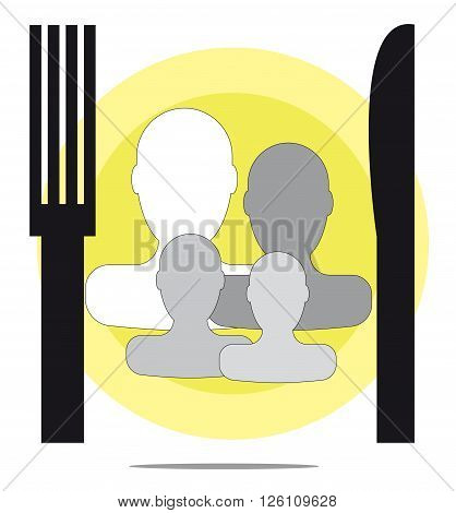 Illustration of family restaurant with fork and knife