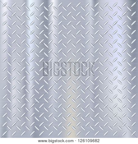 Close-up industrial metal background texture. Stell plate with diamond shape, metallic template. Vector illustration