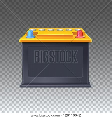Car battery with orange lid icon on transparent background, Vector illustration for your presentation, posters, cover and other design