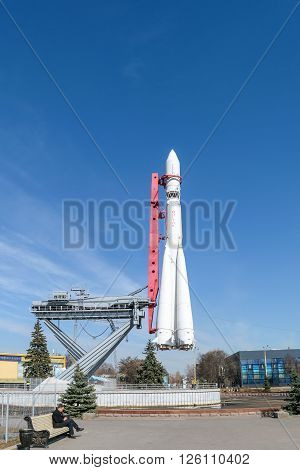 Moscow, Russia - March 29, 2016: Model of the rocket