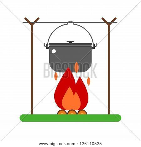 Campfire place illustration. Barbecue steel bowl on fire vector illustration. Hiking bowler pot on fire isolated on white background. Campsite element in flat design.