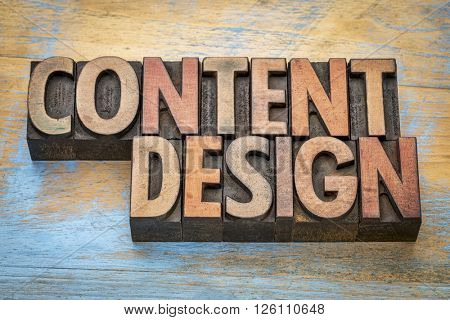 content design  - word abstract in vintage letterpress wood type printing blocks