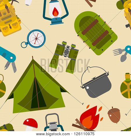 Camping Pattern. Seamless background of camp and hike elements. Summer tourism tiling backdrop.