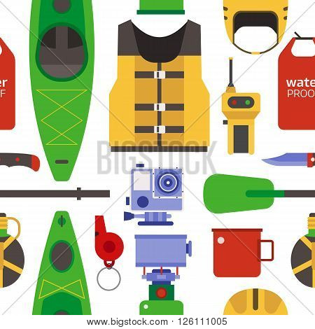 Rafting and kayaking seamless pattern. River camping outdoor elements background. Raft equipment and gear vector backdrop.