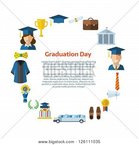 Vector illustration of colorful graduation certificate or postcard. Celebrating invitation template with place for text. Man and woman graduates and graduational elements background template.