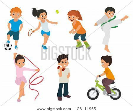 sports kids are actively involved in sports. sports kids are doing in different kinds of sports: karate, roller skates, gymnastics, tennis, fitness, soccer, cycling, weightlifting. vector illustration