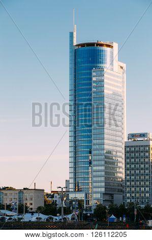 Minsk, Belarus - May 18, 2015: Business Center Royal Plaza -skyscraper On Pobediteley Avenue In District Nemiga In Minsk, Belarus