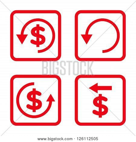 Chargeback vector icon. Image style is a flat icon symbol inside a square rounded frame, red color, white background.