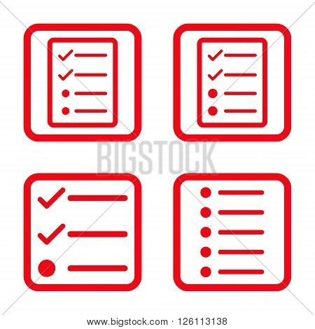 List Items vector icon. Image style is a flat icon symbol inside a square rounded frame, red color, white background.