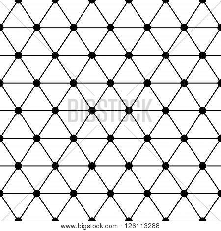 Black white triangles lattice simple seamless pattern, vector background