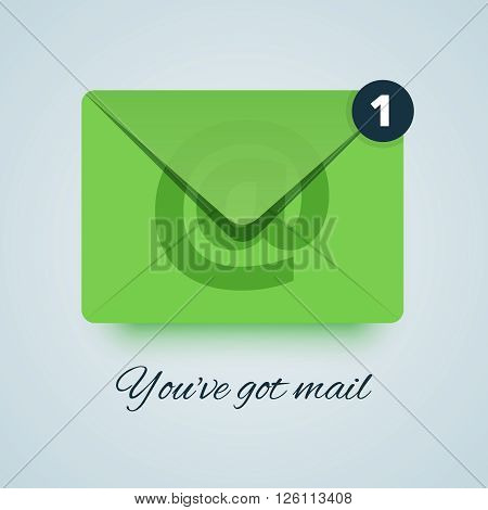 Youve got mail illustration. Green envelope icon with transparent effect. Paper style with soft shadow. New email circle sign. Vector illustration for print or web.